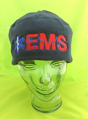NEW Embroidered EMS Medical Star Of Life Navy Skull Fleece Beanie Cap Hat