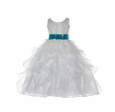 Ivory New Wedding Pageant Ruffled Organza Flower Girl Dress Sequin Toddler 168mh