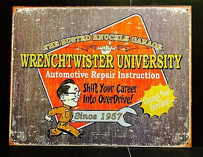 Busted Knuckle Garage Wrenchtwister Funny TIN SIGN metal Vtg Wall Decor