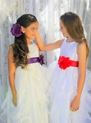 9c1830da3f3 Wedding Pageant White Ruffled Organza Flower Girl Dress Sequin Toddler 168T