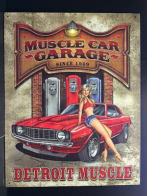 Muscle Car Pinup Detroit  TIN SIGN garage Gas Pump Vtg Retro Wall Decor