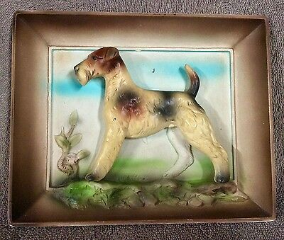 Older Wire Fox Terrier Framed Wall Plaque  - Lot 2/18