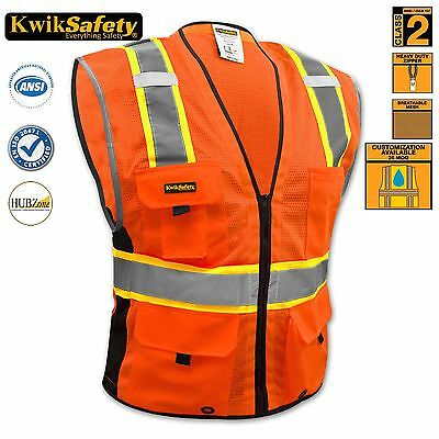 Ansi Class 2 Safety Vest High Visibility Reflective Strips Deluxe Orange L/xl