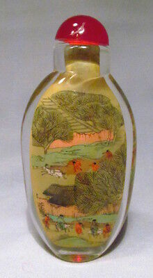 Chinese Reverse Painted Both Sides Glass Snuff Bottle Men Chasing Horse Scene