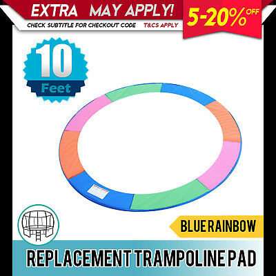 Replacement Trampoline Pad Round Reinforced Safety Spring Cover 10FT Rainbow
