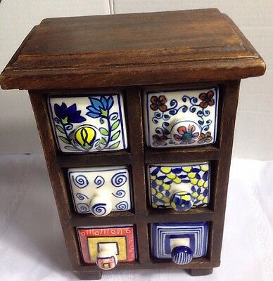 Wooden Apothecary Cabinet With Six Ceramic Drawers
