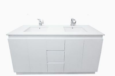 Bathroom Vanity in white stone 1500 mm [floor mount double basin]