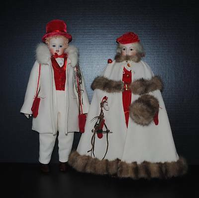 """Antique E. Barrois French Fashion Doll Artist Reproduction 16"""" Pair Man Lady"""