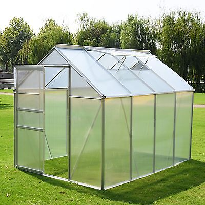 8x6FT Clear Polycarbonate Garden Greenhouse Aluminium With Slide Door Grow Plant