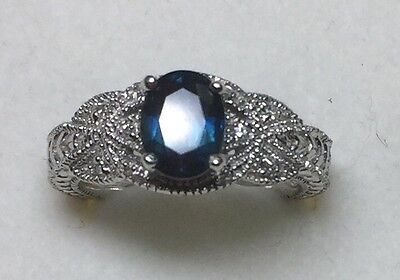 1.50 ct natural (REAL) DIAMOND + sapphire ENGAGEMENT ring SOLID 14k white GOLD