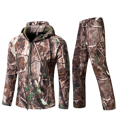 Free shipping Soft shell Mens Tactical Jackets Windbreaker Hunting Coat+pants