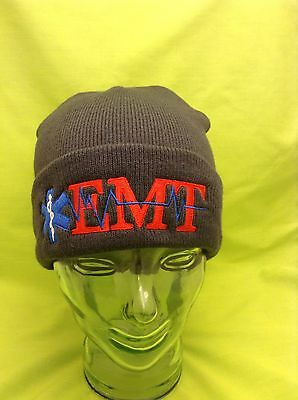 Embroidered EMT EMS Medical Star Of Life Charcoal Gray Stocking Winter Cap Hat