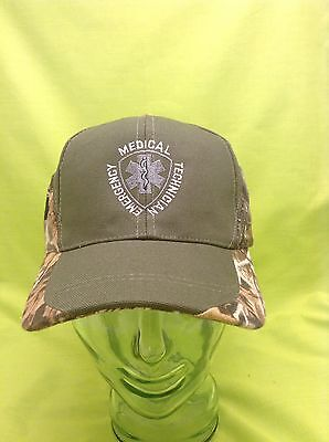 NEW Embroidered EMT Medical Star Of Life Rescue Green & Camo Mesh Hat Cap