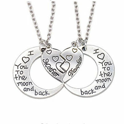 2pcs Mother & Daughter Friendship Necklace Set Best Friend Mom Heart I Love You