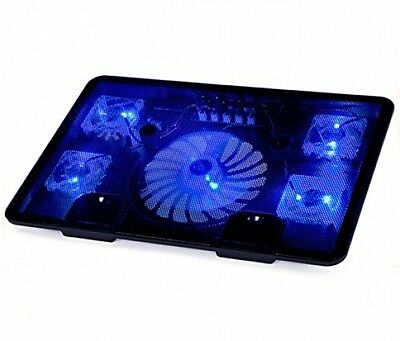 BestFire Laptop Cooling Pad Cooler Chill Mat With 5 Quiet Fans Blue LED Lights