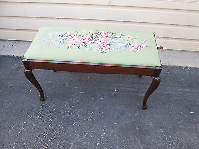 57774 French Country Piano Bench Chair Stool with Needlepoint top