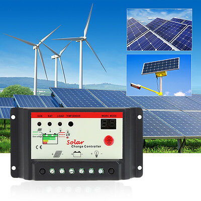 10/20/30A 12/24V Led USB Solar Panel Battery Regulator Charge Controller PWM