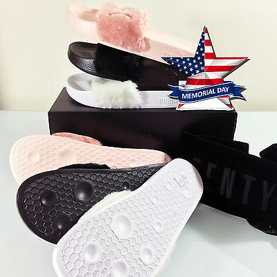 New Puma X Rihanna Fenty Leadcat Fur Slides Shell Pink Black Gray