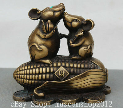 """6"""" Chinese Folk Copper Wealth Zodiac Year Two Mouse Peach On Corn Coin Statue"""