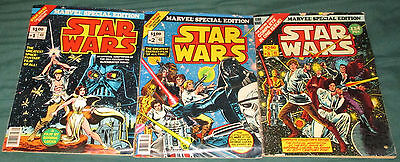 Marvel Special Edition Star Wars 1 2 & 3 Comics 1970s Oversize