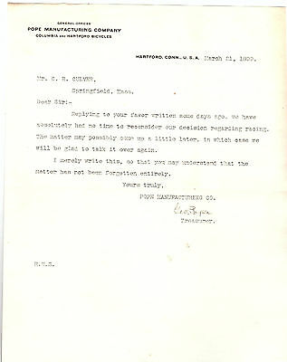 1899 Letterhead Pope Bicycles Hartford Connecticut Hand Signed by Pope