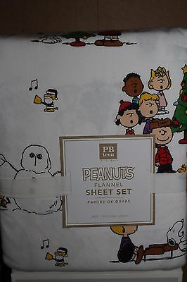 NWT Pottery Barn PB Teen Peanuts Christmas full sheet set kids Snoopy