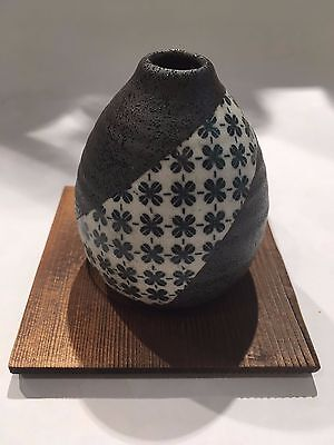 Japanese Mini Black Vase Small Blue Flowers with Tray NEW Made in Japan F/S
