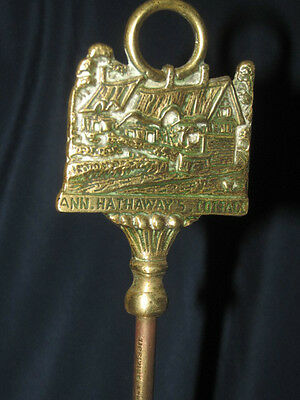 Vintage Ann Hathaway's Cottage Finial Fire Side Copper Brass BRUSH w/ Hair 30CmT