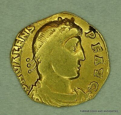 Ancient Roman Gold Coin; Valens 364-378 A.d. Nicomedia Mint, Fine Coin!