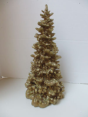 """Dept 56 Gold Holiday Resin 15"""" Christmas Tree - Golden sparkle Beauty - WOW!"""