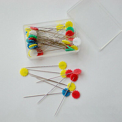 Sale 100Pcs Multicolor Sewing Accessories Stainless Steel Flower Head Pins