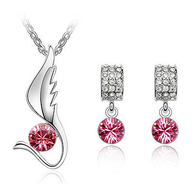 Rose Pink Jewellery Set Angel Wing Diamond Stud Earrings Pendant Necklace S520
