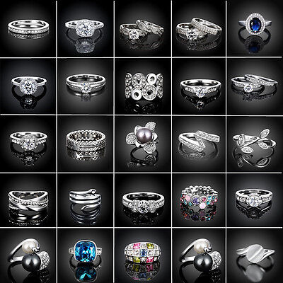 Fashion Women 18k White Gold Plated Jewelry  Wedding Engagement Crystal Ring