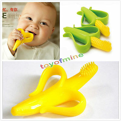 Original HQ Safe Baby Teether Teething Ring Banana Corn Silicone Toothbrush
