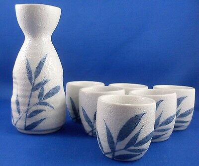 NU Rare Retro JAPANESE Blue Bamboo SAKE 7Pc Pottery Set Collectable Bar In Aust