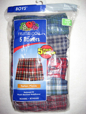5 Pair Fruit of the Loom Boys Boxers-Size S (6-8)