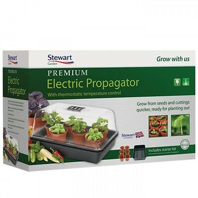 Stewart Premium Thermostat Control Heated Electric Plant Seed Propagator - 38cm