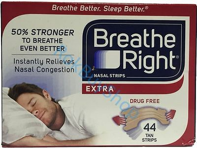 44 Breathe Right Extra Nasal Congestion Strips One Size Tan - Nose Sleep Strips