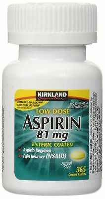 Kirkland Low Dose Aspirin 81mg Enteric Coated NSAID Pain Reliever 365 tablets