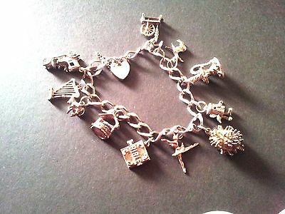 Vintage Silver Charm Bracelet With 11 Charms