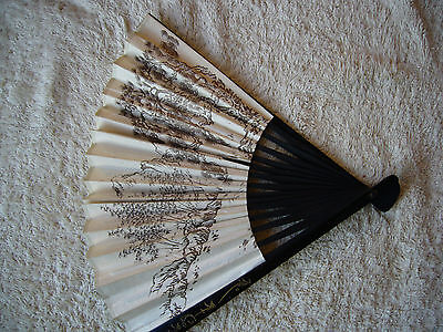 Chinese Folding Hand Fan Wood & decorated paper with presentation box