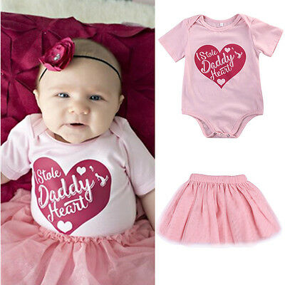 Newborn Infant Baby Girl Bodysuit Heart Romper Jumpsuit Outfits Skirt Clothes