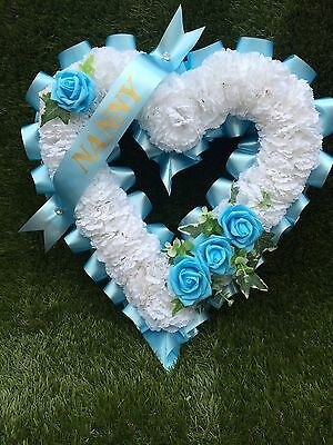 "artificial Flower 15"" Open Heart Wreath,funeral,breavement,grave Any Colour"