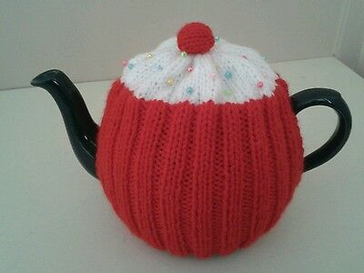Red hand knitted cupcake tea cosy/cosies
