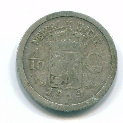 1919 Netherlands East Indies 1/10 Gulden Silver Colonial Coin Nl13342#3