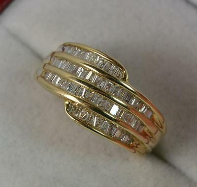 Quality 60 Baguette Diamond 9ct Gold Cluster Ring p0423