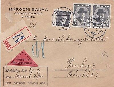 Czechoslovakia 1937 Registered Dobirka cover from Praha  and locally used.