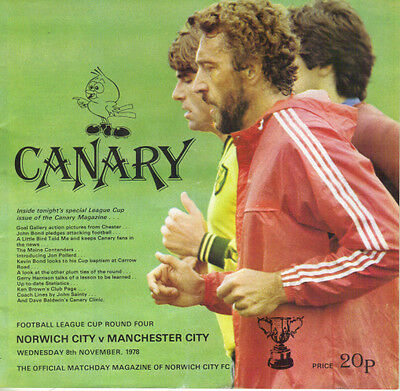 NORWICH CITY v MANCHESTER CITY 8 NOVEMBER 1978 LEAGUE CUP 4th ROUND PROGAMME