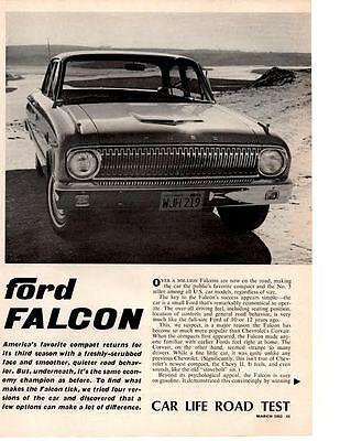 1962 Ford Falcon 170/101 Hp ~ Original 4-Page Road Test / Article / Ad