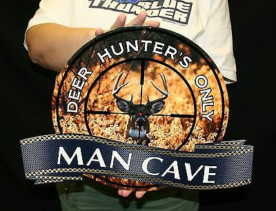 "DEER HUNTER MANCAVE SIGN-18""X14""- FLAT METAL SIGN-(MCDEER1) - PhotoSTEEL"